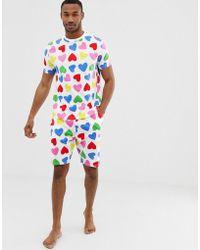 ASOS - Valentines Pyjama Set In Rainbow Hearts - Lyst