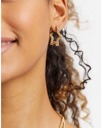 Whistles Textured Star Earrings - Metallic