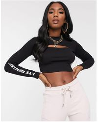 The Couture Club Ribbed Motif Cutout Crop Top - Black
