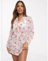 South Beach Пляжная Рубашка С Принтом Ракушек -мульти - Розовый