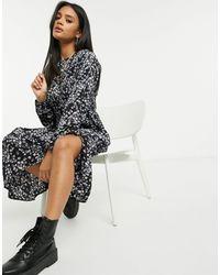 Missguided Свободное Платье Миди С Принтом -черный Цвет
