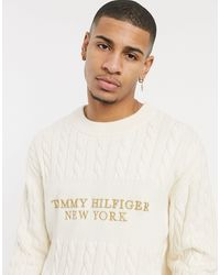 Tommy Hilfiger Chest Logo Cable Knit Jumper - Natural
