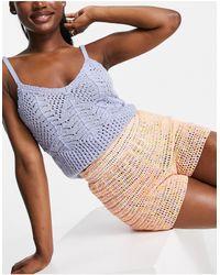 Pimkie Crochet Knit Short Co-ord - Orange