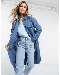 Object Longline Wool Shacket - Blue