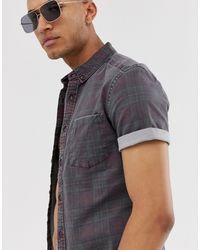 ASOS Skinny Denim Check Shirt Square Collar - Red