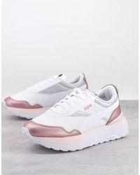 PUMA - Белые Кроссовки С Розовыми Вставками С Эффектом Металлик Cruise Rider-розовый Цвет - Lyst