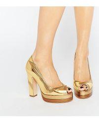 Terry De Havilland - Luna Gold Peep Toe Heeled Shoes - Lyst