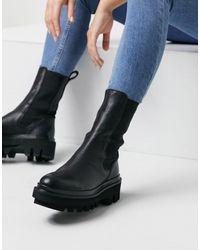 AllSaints Tall - Billie - Leren Chelsea Boots Met Dikke Zool - Zwart