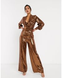 ASOS All Over Sequin Wide Leg Pant With Splits Co-ord-brown