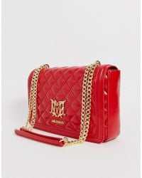 Love Moschino Quilted Shoulder Bag With Chain In Red