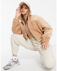Missguided Borg Zip Through Jacket - Natural