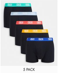 ASOS 5 Pack Shorts Trunks With Bright Waistbands - Black
