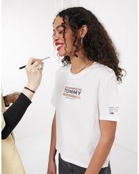 Tommy Hilfiger T-shirt avec logo sur le devant et détail sur la manche - Blanc