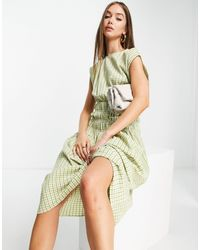 ALIGNE Midi Dress With Pleated Shoulder And Shirred Waist - Green