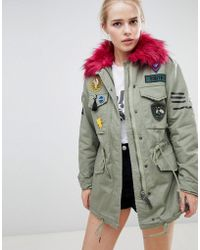 Bershka - Badge And Patch Detail Parka - Lyst