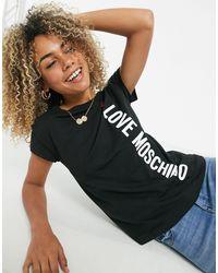 Love Moschino Черная Футболка С Логотипом Сбоку -черный