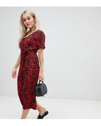 New Look - Belted Jumpsuit In Red Pattern - Lyst