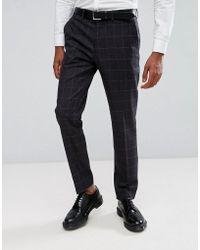 Rudie Pantalon de costume ajust gros carreaux - Gris