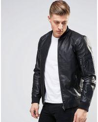 Produkt Faux Leather Bomber Jacket - Black