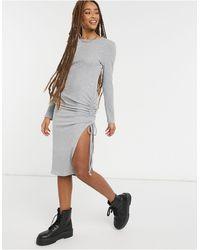 New Look Серое Платье Миди С Разрезом И Сборками Сбоку -серый - Многоцветный