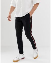 Only & Sons - Slim Fit Side Stripe Trousers In Black - Lyst
