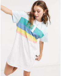 Wrangler Collarless Polo T Shirt Dress With Colour Block Stripes - White