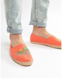 ASOS - Espadrilles In Orange With Embroidery - Lyst