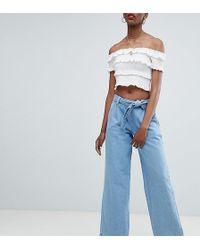 2abfb10b2c4 PrettyLittleThing Wide Leg Raw Hem Jeans In Blue in Blue - Lyst