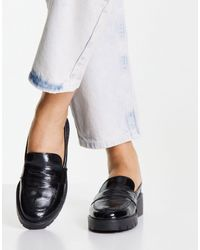 Miss Selfridge Lola Black Patent Loafer