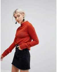 Vila - Cuff Detail Knitted High Neck Jumper - Lyst