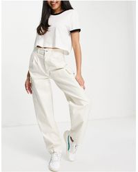 ASOS Pleat Front Chino With Cargo Pockets - White