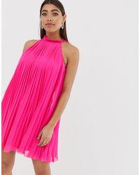 River Island Ярко-розовое Свободное Платье С Плиссировкой -розовый