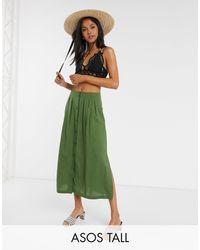 ASOS Asos Design Tall Button Front Midi Skirt - Green