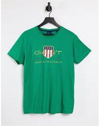 GANT Archive - T-shirt avec logo bouclier brodé - luxuriant - Vert