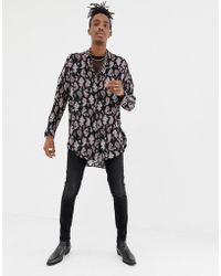 ASOS - Oversized Drop Shoulder Longline Paisley Shirt - Lyst