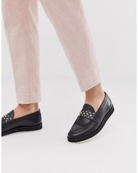 Bowie Stud Loafers In Black Hi shine Leather
