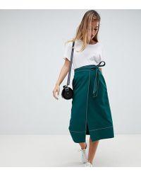 ASOS - Asos Design Petite Tailored Midi Wrap Skirt With Topstitch - Lyst
