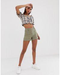 Bershka Button Front Shorts - Green