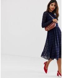 Y.A.S Lorella Crosshatch Midi Dress - Blue