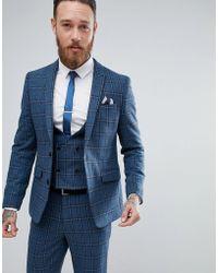 ASOS - Asos Skinny Suit Jacket In Blue Gradient Wool Blend Check - Lyst