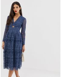ASOS Lace Long Sleeve Prom Dress With Cut Out - Blue