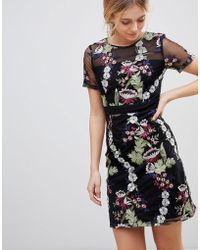 Girls On Film - Floral Embroidered Mini Dress - Lyst