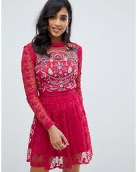 Frock and Frill Embroidered Lace Prom Skater Dress