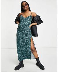 Motel Зеленое Платье-комбинация Макси С Разрезом До Бедра И Цветочным Принтом -зеленый