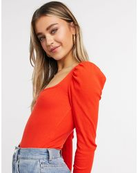 Miss Selfridge Puff Sleeve Square Neck Bodysuit - Red