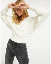 Y.A.S Wrap Sweater With Batwing Sleeve - White