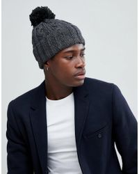 c3f77fe87f891 French Connection - Cable Knit Contrast Bobble Beanie - Lyst
