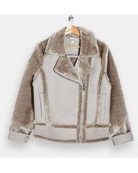 TOPSHOP Faux Fur Aviator Jacket - Grey