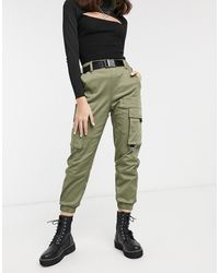 Bershka Pantaloni cargo larghi color kaki - Verde