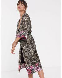 DORINA Халат-кимоно С Леопардовым И Цветочным Принтом - Многоцветный